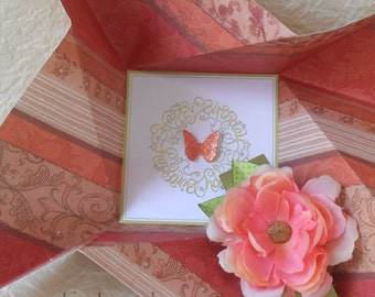 BIRTHDAY Card, folded pinwheel style, in shades of tan, coral and salmon-pink