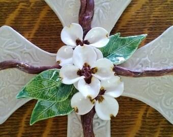 Handmade Pottery Cross, Dogwood Flower Cross