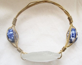 Sea Glass Brass Bangle Bracelet, Wire wrapped, White and blue and white beads