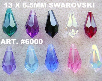 BEADS, SWAROVSKI, 13 x 6.5mm, Article 6000, 10 Pieces, VINTAGE, Briolette, Teardrop, top drill, faceted, Color Choice, Goth, Austrian,