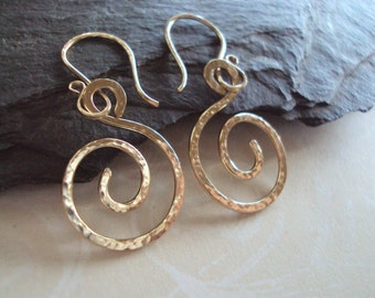 Gold Swirl Earrings, Gold Spiral Earrings, Hand Hammered, Under 25