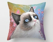 "Decorative throw pillows cover ... from my original painting, ""Grumpy Cat...This Is My Happy Face""...16"" x 16""...Tardar Sauce, ready 2 ship"