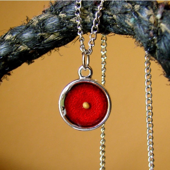 RESERVED LISTING for natalie lucas... The Mustard Seed Necklace... Brilliant Metallic Red on Bright Silver