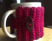 crocheted mug cozy wrap cup cozy wrap in wine sangria mulberry