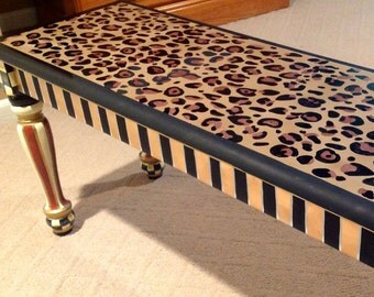 Whimsical Painted Furniture, Painted Bench, wood bench, farmhouse bench, leopard bench