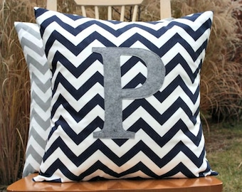 Navy Blue Chevron Pillow Cover with Heather Grey Monogram