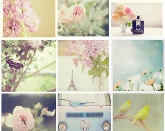 Photography Set - Print Set, Botanical Prints, Nature Photography, Pastel Wall Decor, You Choose, 4x4's, 4x6's, 5x5's, Photography Set of 9