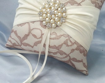Ivory Ring Bearer Pillow Lace Ring Pillow Pearl Rhinestone Accent Taupe Latte