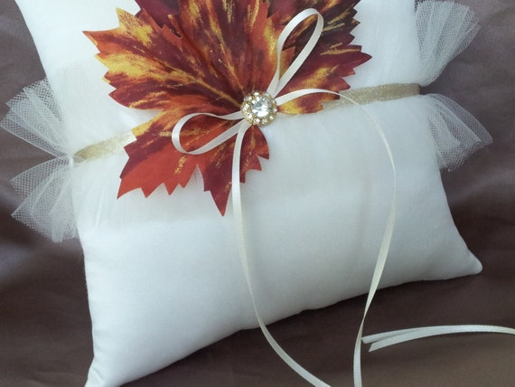 Ivory Fall Ring Bearer Pillow Leaves Tulle Leaf Autumn Theme Wedding Pillow