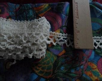 """VIntage White Cotton Lace trim - 3 yards long x 7/8"""" width"""