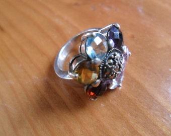 Vintage 925 Multicolor Gemstone/rhinestone ring