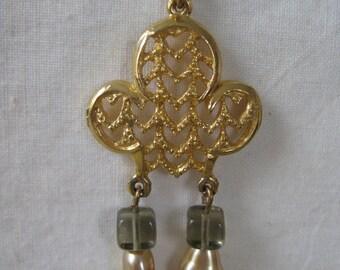 Gold Gray Necklace Dangle Filigree Vintage