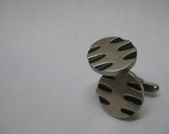 Silver Modern Cuff Links Vintage