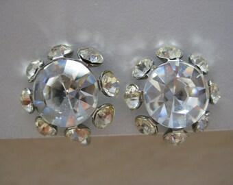 Flower Rhinestone Earrings Screw Clear Silver Vintage
