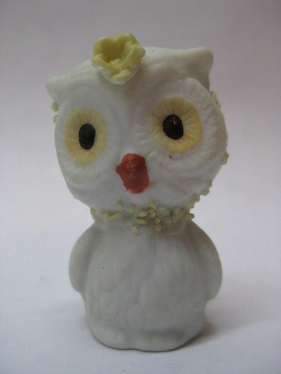 Owl Figurine Miniature Vintage White Yellow Porcelain
