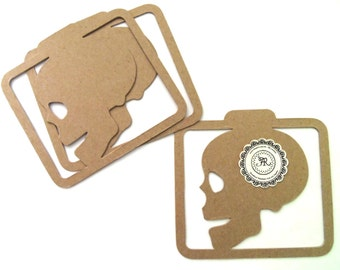Halloween, no. 145 - Chipboard Frame Skull, Chipboard Die Cut, Halloween Chipboard Skull Set of 3 by Annie42 - Ar Creations