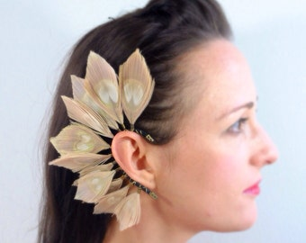 Bleached Peacock Ear Cuff