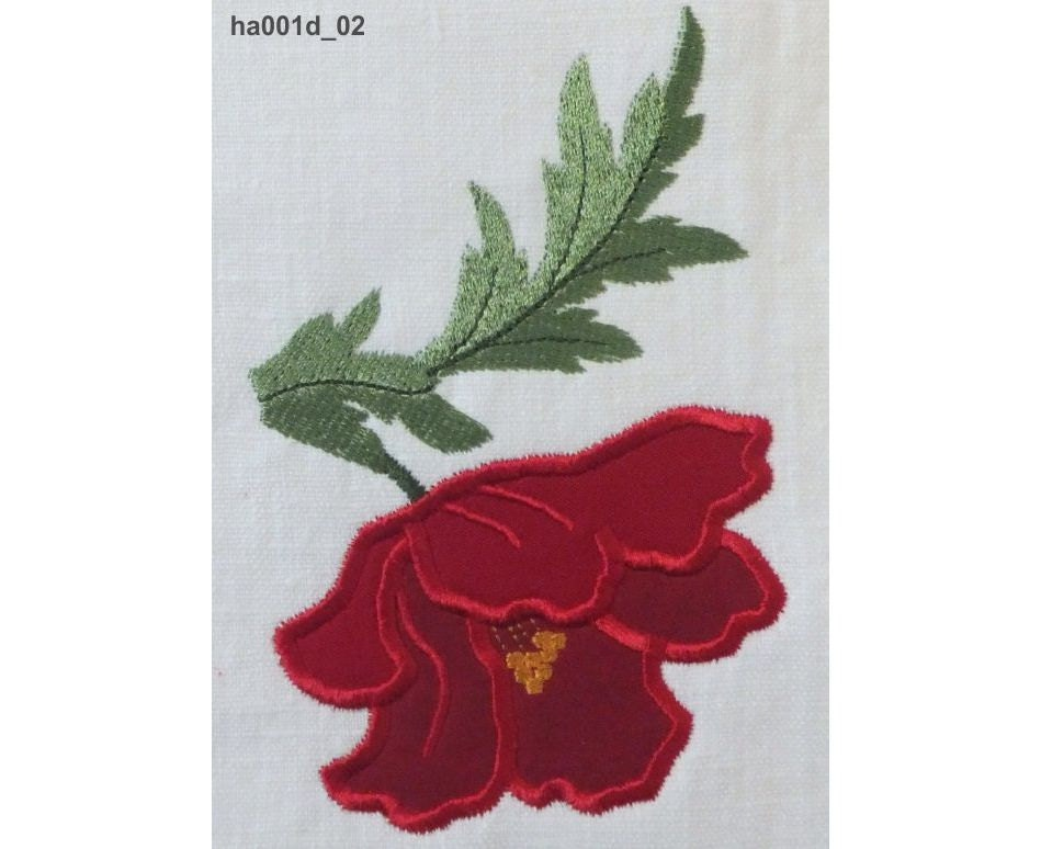 Poppy Applique Machine Embroidery Designs Ha001d