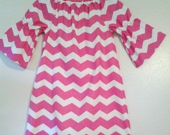 Pink Chevron    Peasant tunic dress 3/4 length  sleeves   (size 2t,3t,4t,5t,