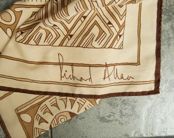Vintage Richard Allen Scarf with Primitive Motif