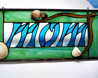 Mothers Day Gift, Stained Glass Panel, Personalized for MOM, Seashell Suncatcher