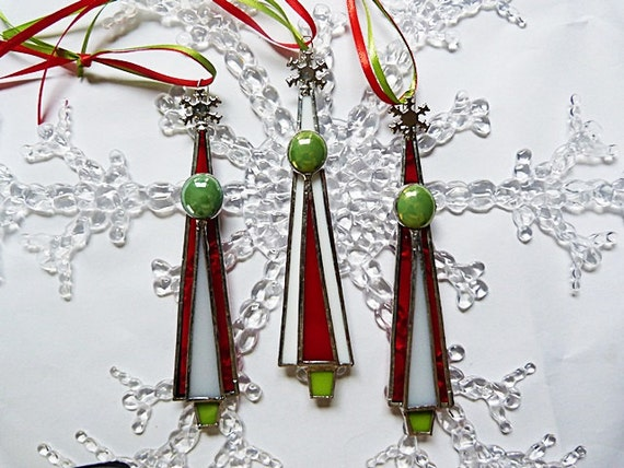 Traditional Glass Christmas Tree Ornaments : Traditional red white and green stained glass christmas