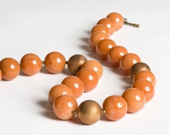 Orange Caramel Aventurine Statement Necklace with Vintage Brass - Firenze