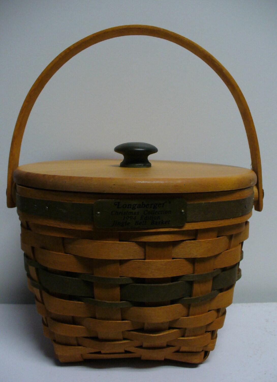 Handmade Longaberger Basket Liners : Longaberger jingle bell basket with lid and plastic liner