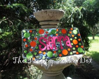 Custom Preppy Monogram Mirror License Plate with Polka Dots