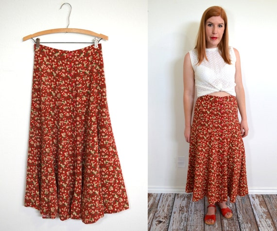 Floral Maxi Skirt Red Maxi Skirt Red Long Skirt Floral