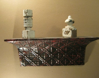 2 FT.- Shabby Salvaged Tin Ceiling SHELF/Mantle Wall Mount Chic Recycled S1424-13