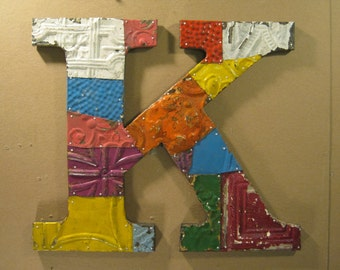 "Tin Ceiling Wrapped 16"" Letter ""K"" Patchwork Reclaimed Metal Mosaic Wall Hanging S1445-13"