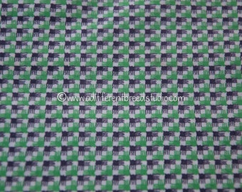 Fun Geometric - Vintage Fabric Full Feedsack 50s 60s Green Black Checked