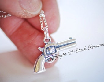 LAST ONE - Handgun Necklace - Solid 925 Sterling Silver Gun Charm Pendant - Insurance Included