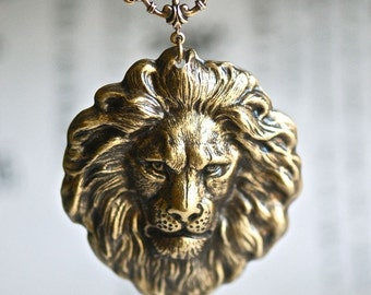 The Lion Necklace - American Made Antique Gold Plated Brass Stamping - Free Domestic Shipping