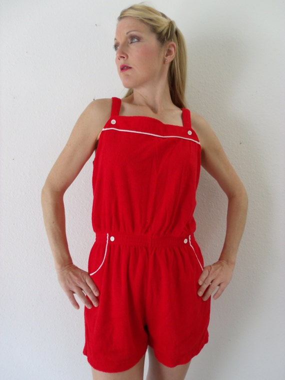 Items Similar To Vintage Romper 1970s - Red Romper 80s 70s Nautical - Medium - M - Large - L On Etsy