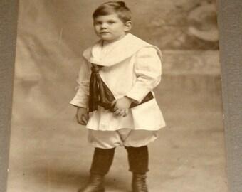 Antique Photograph Edwardian Child Boy in Sailor Suit