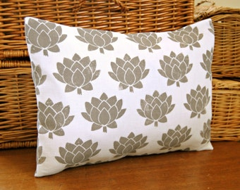 gray block printed decorative pillow cover, grey hand printed lumbar cushion cover 12 x 16 inch