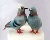 Pigeon Cake Topper: Unique Bride and Groom Love Bird Wedding Cake Topper