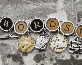 Wordsmith Charm Bracelet Writing Themed Jewelry