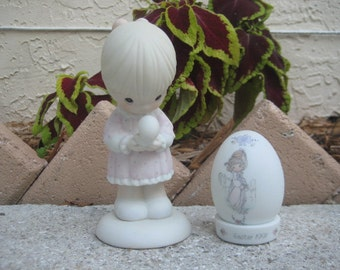 Vintage Precious Moments Girl with Baby Chick Figurine plus Egg