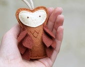 Felt Owl Ornament Brown Owl Plush Door Knob Hanger Woodland Nursery Decor by OrdinaryMommy