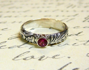 Willow Ring - Vintage Sterling Silver Floral Stack Band with Ruby gemstone July Birthstone