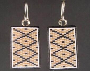 Inlaid wood mosaic earrings