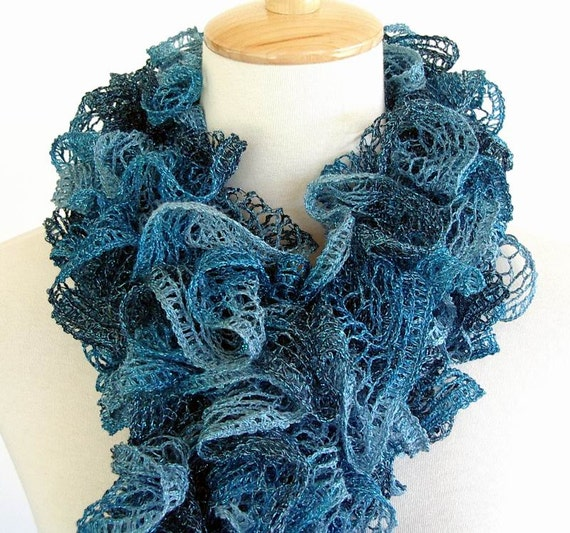 Turquoise Teal Ruffle Fashion Scarf Knit Metallic By