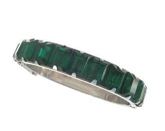 Emerald Vintage Bangle Bracelet, Emerald Wide Rhinestone Cuff, 1940s Wedding Jewelry