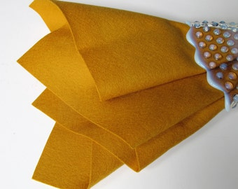 Wool Felt Square, Dull Gold, Choose Size, Large Felt Sheet, Wool Felt Square, 100% Wool, Nonwoven Felt, DIY Craft Supply, Wool Applique