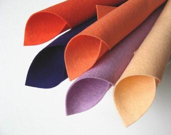Wool Felt Sheets, Purple and Coral, 100% Wool, Felt Fabric Set, Coral, Shrimp, Lilac, Deep Purple, Light Peach