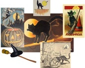 Digital Collage Sheet, Halloween Collage Sheet, Instant Download and Print Collage, Vintage Black Cats/Witches/Pumpkins/Brooms Collage,