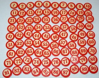 Vintage Cardboard Lotto Numbers for Altered Art, Mixed Media, etc.